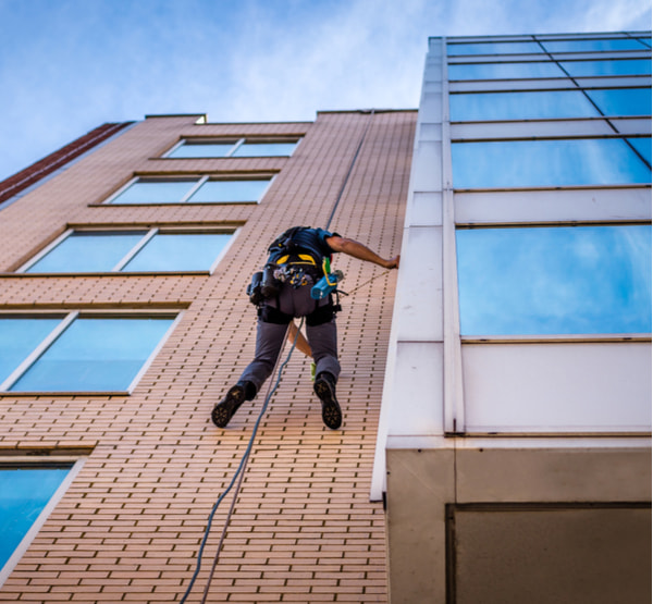 A window cleaner abseiling down a building