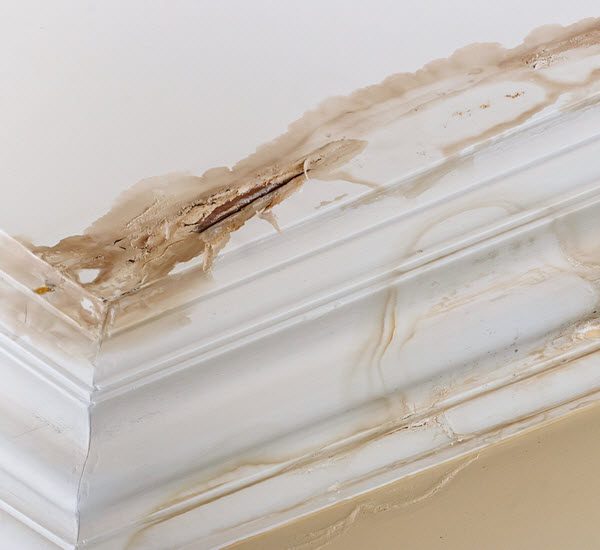 Stain and peeling paint on a ceiling damaged by water leak