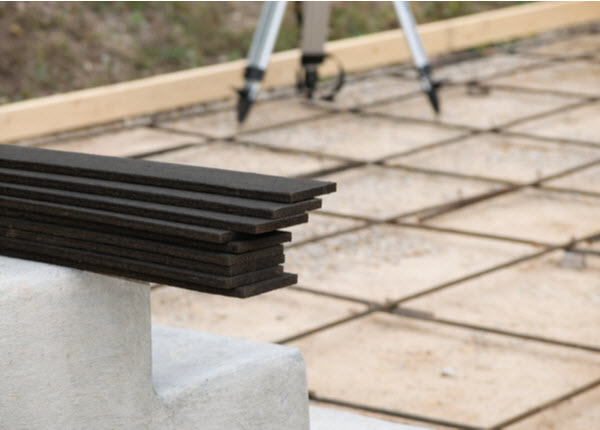 Pile of Expansion Joint and Rebar Grid on a construction site