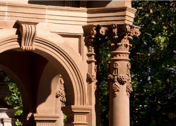 Ornate carving on 1884 baroque-inspired Victorian Gothic sandstone water fountain