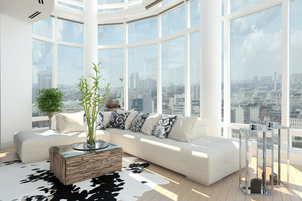 Modern design living room with motif of white