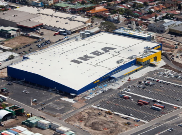 Aerial view of IKEA building