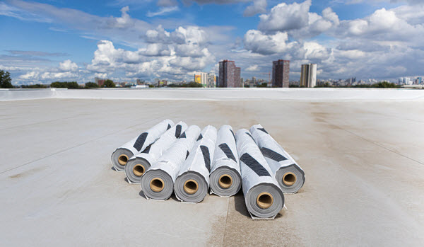 Roll of Roofing sheets placed on rooftop