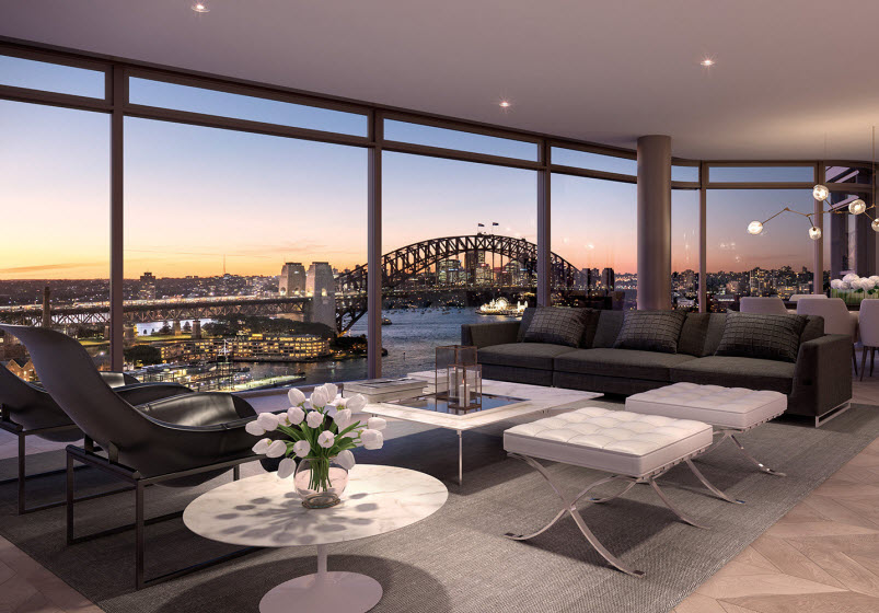 Living room with the view of city
