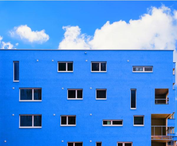 Apartment in residential building exterior