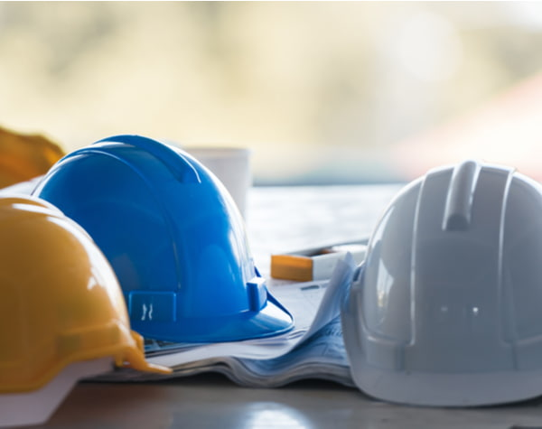 Hard hats on the table