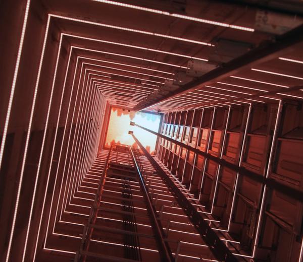 Elevator corridor in the building lit
