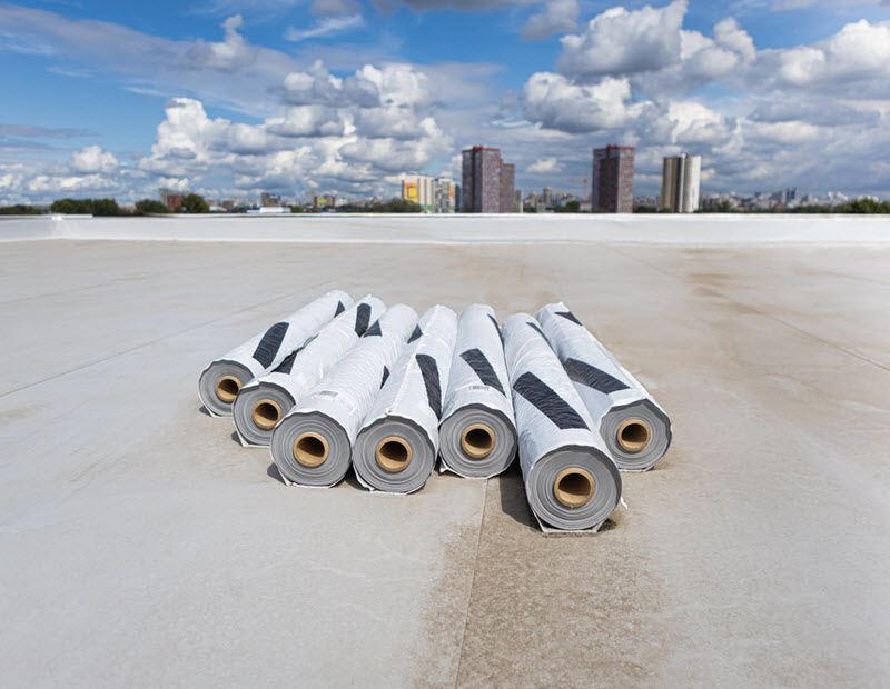 Roofing PVC membrane in rolls placed on the rooftop